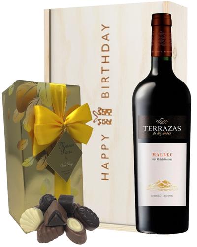 Terrazas Reserva Malbec Wine and Chocolate Birthday Gift Box