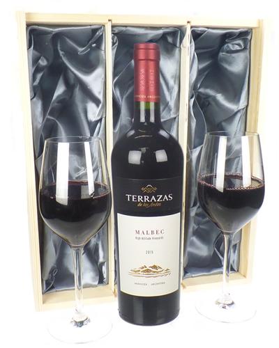 Terrazas Reserva Malbec Wine And Glasses