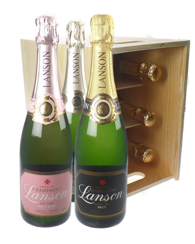 The Lanson Collection Champagne Six Bottle Wooden Crate