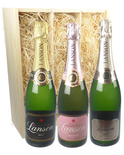 The Lanson Collection Three Bottle Champagne Gift in Wooden Box