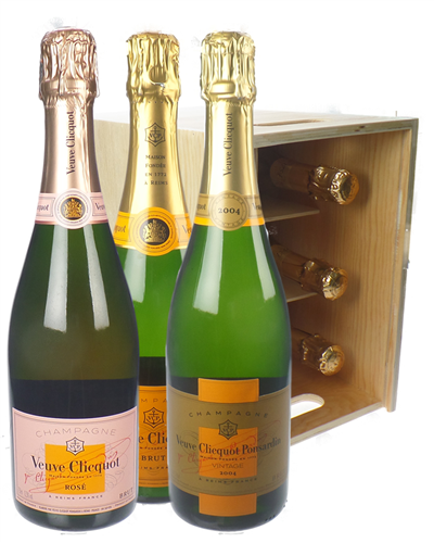 The Veuve Collection Champagne Six Bottle Wooden Crate