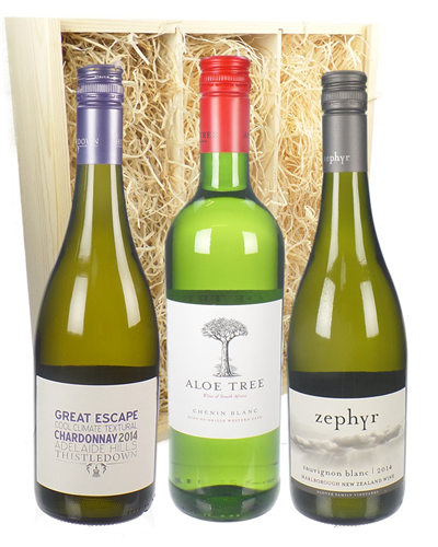 Tri-Nation Triple White Three Bottle Wine Gift in Wooden Box