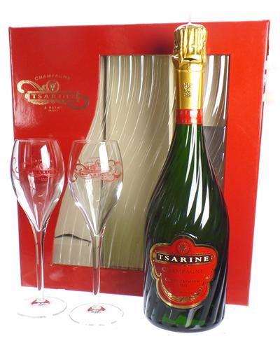 Tsarine Champagne Gift Set With Flute Glasses