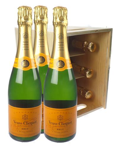 Veuve Clicquot Champagne Six Bottle Wooden Crate