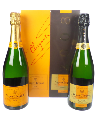 Veuve Clicquot Champagne Two Bottle Gift Box Non Vintage And Vintage