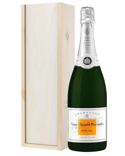 Veuve Clicquot Demi Sec Champagne Gift in Wooden Box