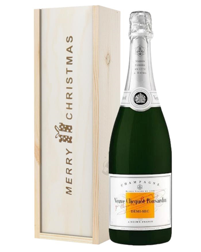 Veuve Clicquot Demi Sec Champagne Single Bottle Christmas Gift In Wooden Box
