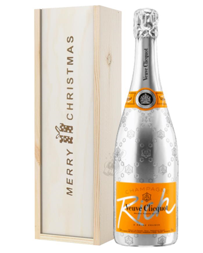 Veuve Clicquot Rich Champagne Single Bottle Christmas Gift In Wooden Box