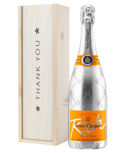 Veuve Clicquot Rich Champagne Thank You Gift In Wooden Box