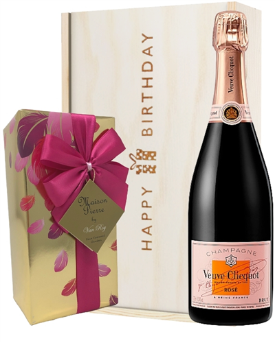 Veuve Clicquot Rose Champagne and Chocolates Birthday Gift Box