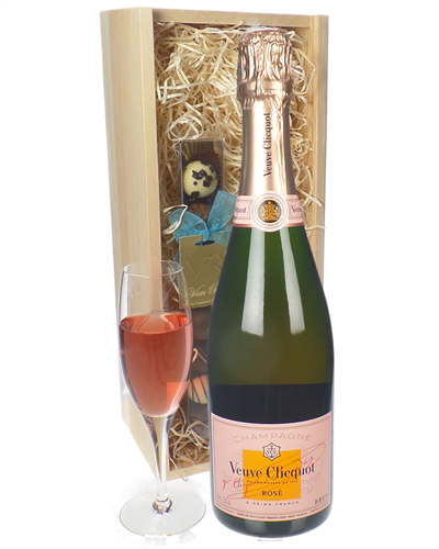 Veuve Clicquot Rose Champagne and Chocolates Gift Set