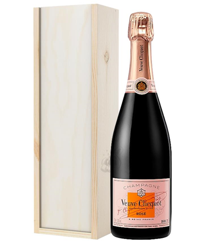 Veuve Clicquot Rose Champagne Gift in Wooden Box