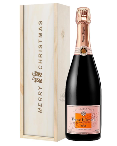 Veuve Clicquot Rose Champagne Single Bottle Christmas Gift In Wooden Box