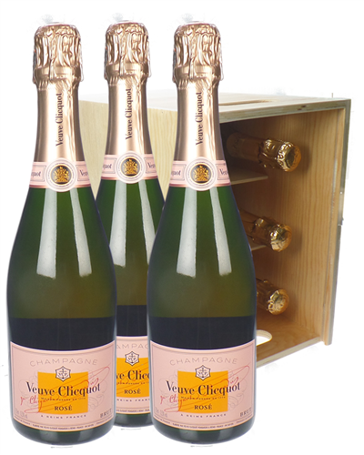 Veuve Clicquot Rose Champagne Six Bottle Wooden Crate