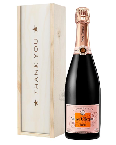 Veuve Clicquot Rose Champagne Thank You Gift In Wooden Box