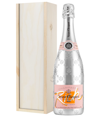 Veuve Clicquot Rose Rich Champagne Gift In Wooden Box