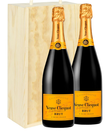 Veuve Clicquot Two Bottle Champagne Gift in Wooden Box