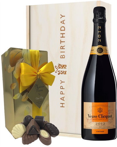 Veuve Clicquot Vintage Champagne and Chocolates Birthday Gift Box