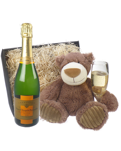 Veuve Clicquot Vintage Champagne and Teddy Bear Gift Basket