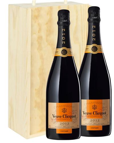 Veuve Clicquot Vintage Two Bottle Champagne Gift in Wooden Box