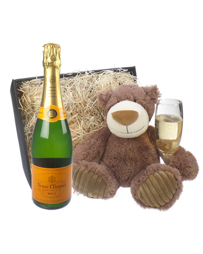Veuve Cliqcuot Champagne and Teddy Bear Gift Basket