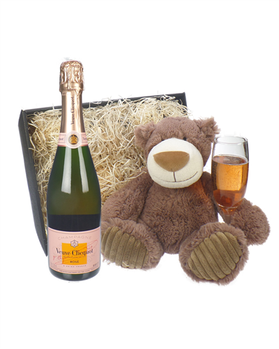 Veuve Cliqcuot Rose Champagne and Teddy Bear Gift Basket