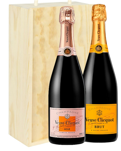 Veuve NV and NV Rose Two Bottle Champagne Gift in Wooden Box