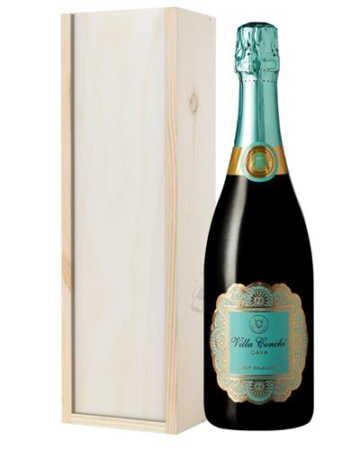 Villa Conchi Cava Sparkling Wine Gift in Wooden Box