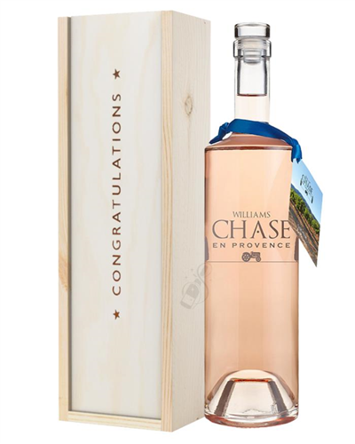 Williams Chase Rose Wine Congratulations Gift In Wooden Box