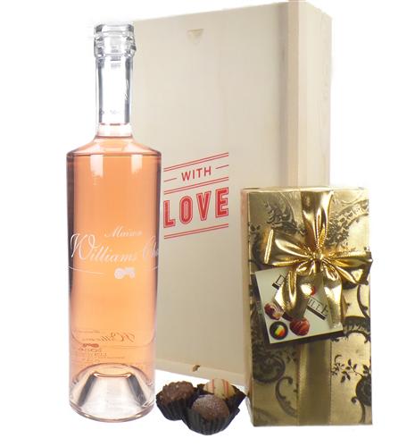 Williams Chase Rose Wine Valentines Wine and Chocolate Gift Box