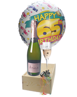 65TH BIRTHDAY ROSE CHAMPAGNE FLUTE GIFT