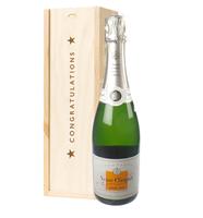 Veuve Clicquot Demi Sec Champagne Congratulations Gift In Wooden Box