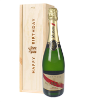 Mumm Cordon Rouge Champagne Birthday Gift In Wooden Box