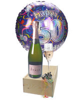 50TH BIRTHDAY ROSE CHAMPAGNE FLUTE GIFT