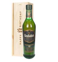 Glenfiddich 12 Year Old Single Malt Whisky Birthday Gift In Wooden Box