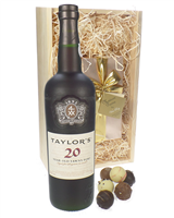 Taylors 20 Year Old Port and Chocolates Gift Set in Wooden Box