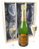 Veuve Vintage Champagne Gift Set With Flute Glasses