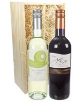 Italian Mixed Two Bottle Wine Gift in Wooden Box