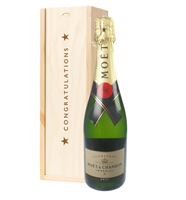 Moet et Chandon Champagne Congratulations Gift In Wooden Box