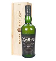 Ardbeg 10 Year Old Single Malt Whisky Birthday Gift In Wooden Box