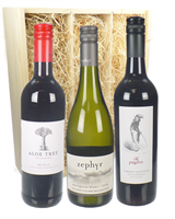 Tri-Nation Mixed Three Bottle Wine Gift in Wooden Box