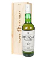 Laphroaig 10 Single Malt Whisky Birthday Gift In Wooden Box