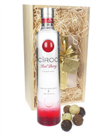 Ciroc Red Berry Vodka And Chocolates Gift Set in Wooden Box