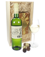 French Sauvignon Blanc Wine and Chocolates Gift Set in Wooden Box