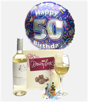 50th Birthday White Wine And Chocolates