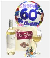 60th Birthday White Wine And Chocolates