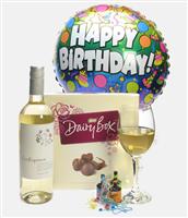 White Wine And Chocolates Birthday Gift