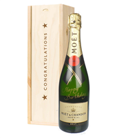 Happy Birthday Moet Champagne Congratulations Gift In Wooden Box