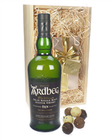 Ardbeg 10 Year Old and Chocolates Gift Set in Wooden Box