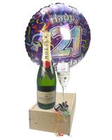 21st Birthday Gift - Moet Champagne - Balloon - Flute